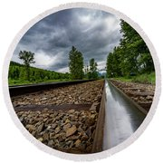 Round Beach Towel featuring the photograph From The Track by Darcy Michaelchuk