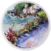 Round Beach Towel featuring the painting From The Walkway by Rae Andrews
