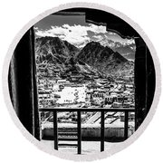 From Up On High In Leh, Northern India Round Beach Towel
