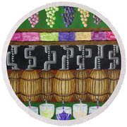 Round Beach Towel featuring the painting From Vine To Wine by Katherine Young-Beck