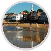 Front Beach Round Beach Towel by James Kirkikis