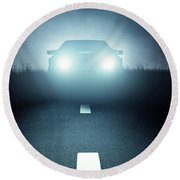 Front Car Lights At Night On Open Road Round Beach Towel