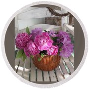 Front Porch Peonies Round Beach Towel