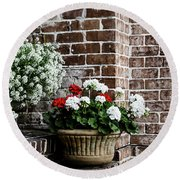 Round Beach Towel featuring the photograph Front Porch With Flower Pots by Kim Hojnacki