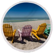 Front Row To Paradise Round Beach Towel