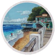 Round Beach Towel featuring the painting Front Street Lahaina by Darice Machel McGuire