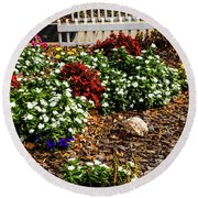 Front Yard Flowers Round Beach Towel by Randy Sylvia