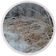 Frost Laden Grasses Round Beach Towel by Sandra Foster