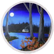 Round Beach Towel featuring the painting Frost Tonight by Jack G Brauer