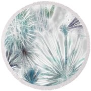 Round Beach Towel featuring the digital art Frosted Abstract by Methune Hively