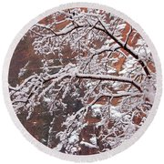 Frosted Branches Round Beach Towel by Daniel Woodrum