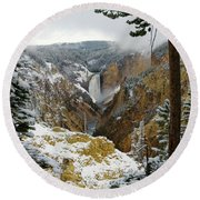 Round Beach Towel featuring the photograph Frosted Canyon by Steve Stuller