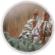 Frosted Cliffs In Zion Round Beach Towel by Daniel Woodrum