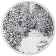 Round Beach Towel featuring the photograph Frosted Feeder by Kendall McKernon