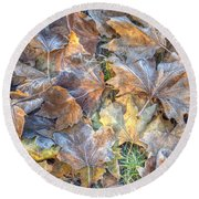 Frosted Leaves 8x10 Round Beach Towel
