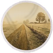 Frosted Road In Outback Australia Round Beach Towel