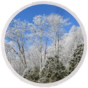 Frosted Trees Blue Sky 1 Round Beach Towel