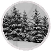 Round Beach Towel featuring the photograph Frosted Trees by Kathleen Sartoris