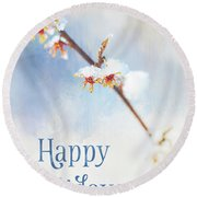 Frosted Witch Hazel Blossoms Holiday Card Round Beach Towel