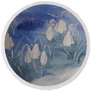 Frosty Bells Round Beach Towel