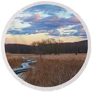 Frosty Blue Trail Round Beach Towel by Angelo Marcialis