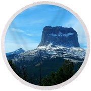 Frosty Chief Mountain Round Beach Towel
