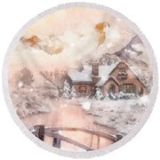 Round Beach Towel featuring the painting Frosty Creek by Mo T