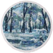 Frosty Day Round Beach Towel