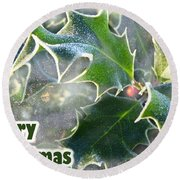 Round Beach Towel featuring the photograph Frosty Holly by LemonArt Photography