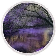 Frosty Lilac Wilderness Round Beach Towel by Michele Carter