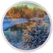 Frosty Morning Round Beach Towel by Bruce Morrison
