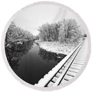 Round Beach Towel featuring the photograph Frosty Morning On The Poudre by James Steele