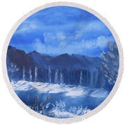 Frosty Mountain River Round Beach Towel by Meryl Goudey