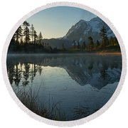 Frosty Picture Lake Round Beach Towel
