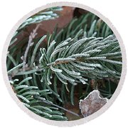 Frosty Pine Branch Round Beach Towel