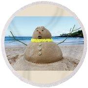 Frosty The Sandman Round Beach Towel by Denise Bird