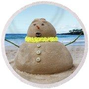 Frosty The Sandman Round Beach Towel