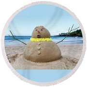 Frosty The Sandman Round Beach Towel