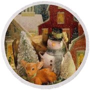 Round Beach Towel featuring the painting Frosty The Snowman by Mo T