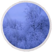 Frosty Trees At Night Round Beach Towel