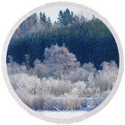 Frosty Trees Of February Round Beach Towel