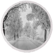 Frosty Winter Morning Round Beach Towel