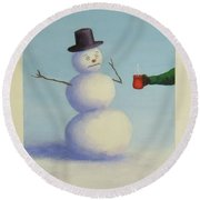 Frosty's Nightmare I Round Beach Towel