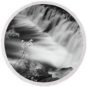 Frothy Falls Round Beach Towel