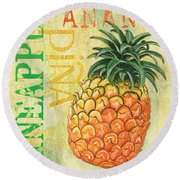 Froyo Pineapple Round Beach Towel by Debbie DeWitt