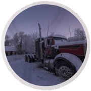 Frozen Big Rig Round Beach Towel