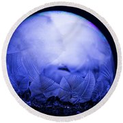 Frozen Bubble Art Blue Round Beach Towel