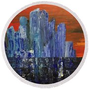 Frozen City Round Beach Towel
