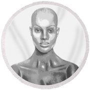 Bald Superficial Woman Mannequin Art Drawing  Round Beach Towel