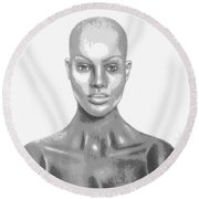 Superficial Bald Woman Art Charcoal Drawing  Round Beach Towel